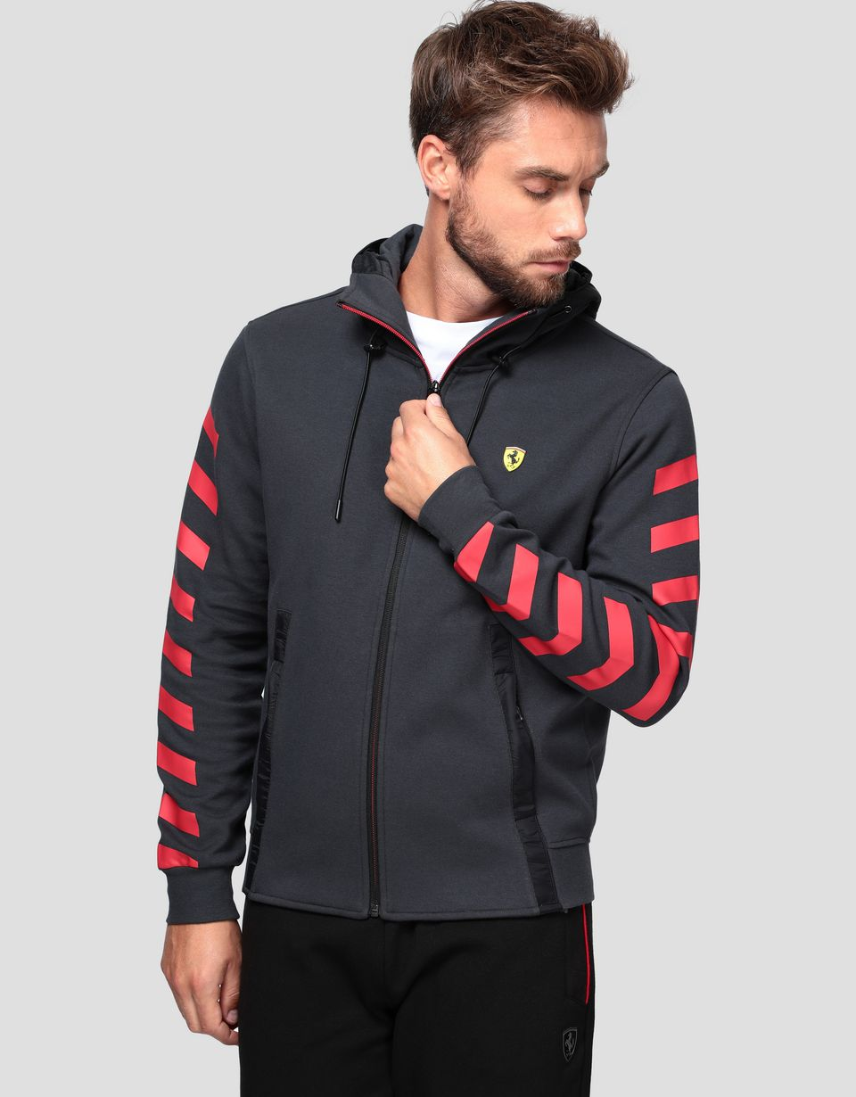 Scuderia Ferrari Online Store - Men's double knit sweatshirt with hood - Zip Sweaters