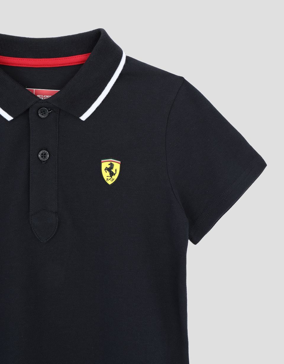 Scuderia Ferrari Online Store - Boys' pique polo shirt with contrasting band on collar - Short Sleeve Polos