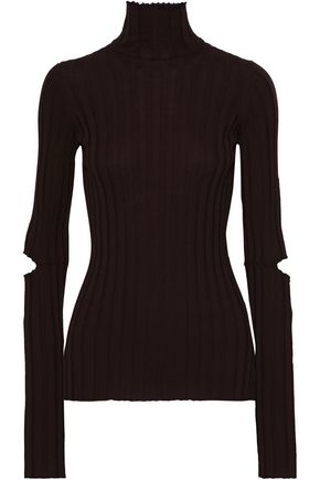 HELMUT LANG Cutout ribbed wool turtleneck top