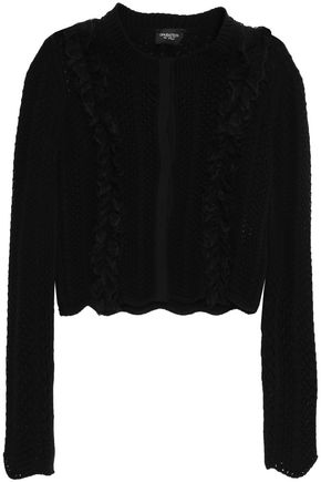 GIAMBATTISTA VALLI Lace and grosgrain-trimmed open-knit wool cardigan