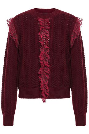 GIAMBATTISTA VALLI Ruffled point d'esprit-trimmed open-knit wool sweater