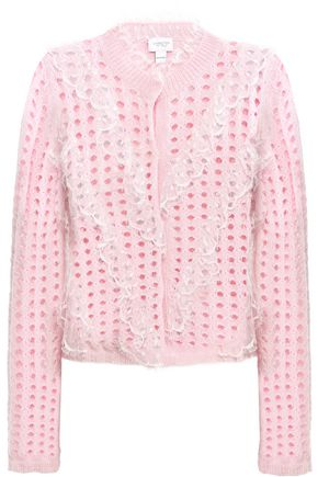 GIAMBATTISTA VALLI Ruffled point d'esprit-trimmed open-knit wool-blend cardigan