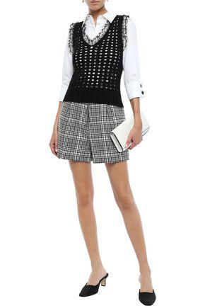 Giambattista Valli Woman Lace-Trimmed Open-Knit Wool-Blend Vest Black