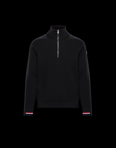 ZIPPED MOCK POLO NECK Black Knitwear & Sweatshirts Man