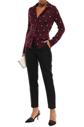 Giambattista Valli Woman Wool, Silk And Cashmere-Blend Jacquard Blazer Claret