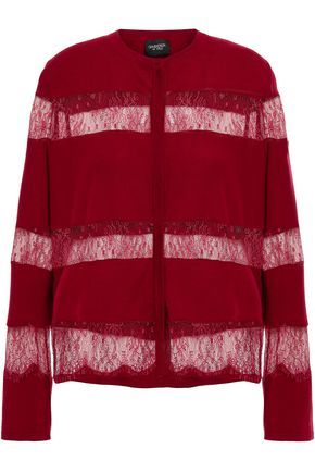 GIAMBATTISTA VALLI Paneled lace and wool cardigan
