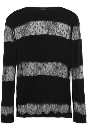 GIAMBATTISTA VALLI Point d'esprit-paneled wool sweater