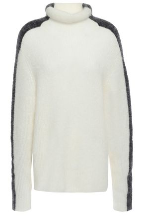 GANNI Callahan two-tone brushed ribbed-knit turtleneck sweater