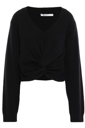 ALEXANDERWANG.T Twist-front wool and cashmere-blend sweater