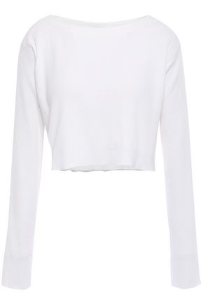 ALEXANDERWANG.T Cropped ribbed cotton-blend top