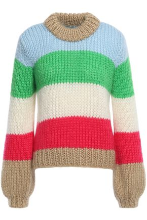 GANNI Julliard color-block mohair and wool-blend sweater