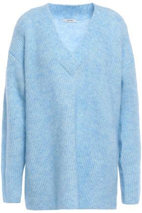 GANNI Evangelista mélange brushed-knitted sweater