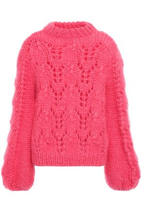 GANNI The Julliard open-knit mohair and wool-blend sweater