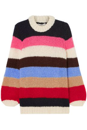 GANNI Julliard striped wool and mohair-blend sweater