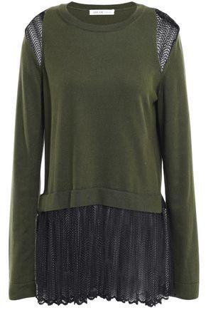 ADEAM レイヤード シルク&マクラメレース セーター