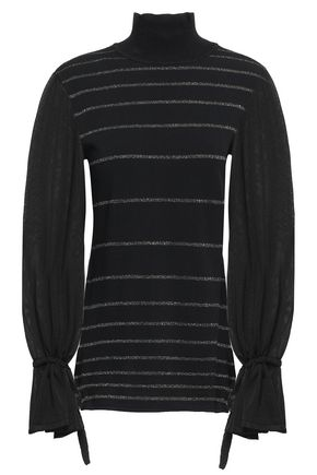 ROKSANDA Striped metallic stretch-knit turtleneck sweater