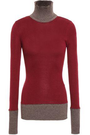 VICTORIA BECKHAM Two-tone wool-blend turtleneck sweater