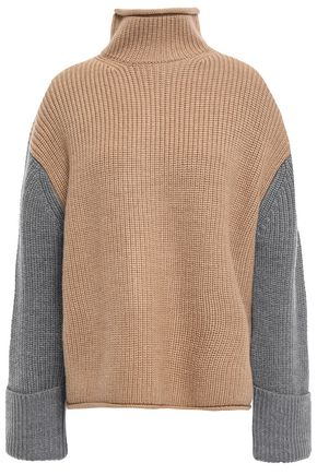 Color Block Ribbed Wool Turtleneck Sweater by Victoria, Victoria Beckham