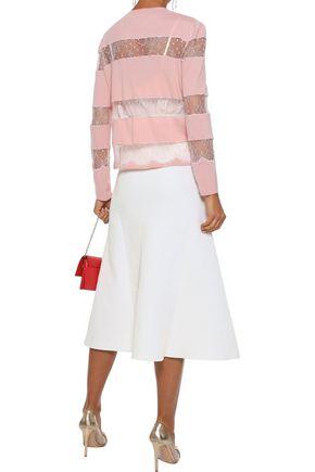 GIAMBATTISTA VALLI Chantilly lace-paneled wool cardigan