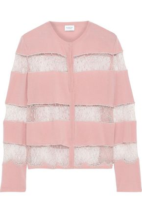 GIAMBATTISTA VALLI Chantilly lace-paneled wool cardigan