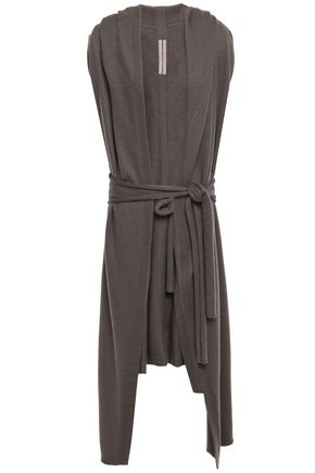 RICK OWENS Belted draped cashmere hooded cardigan