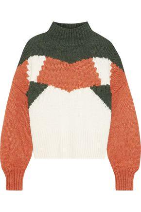 IRIS & INK Ingrid intarsia-knit turtleneck sweater