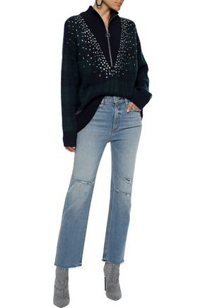 Sandro Knits SANDRO WOMAN PATIENCE CRYSTAL-EMBELLISHED CHECKED INTARSIA-KNIT SWEATER NAVY