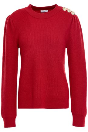 CLAUDIE PIERLOT Button-embellished ribbed wool-blend sweater