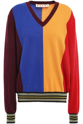 MARNI Color-block intarsia cashmere and wool-blend sweater