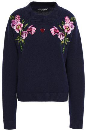DOLCE & GABBANA フローラルアップリケ付き ウール セーター
