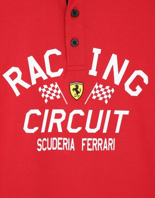 Scuderia Ferrari Online Store - Children's polo shirt with RACING CIRCUIT print - Short Sleeve Polos