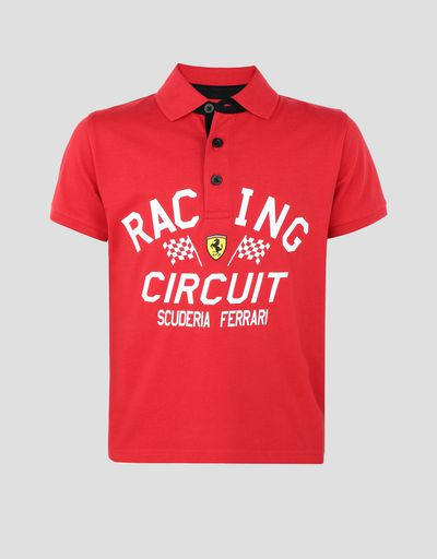 Boys' polo shirt with RACING CIRCUIT print