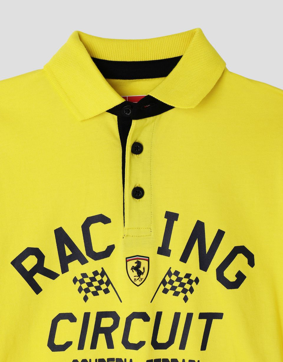 Scuderia Ferrari Online Store - Boys' polo shirt with RACING CIRCUIT print - Short Sleeve Polos