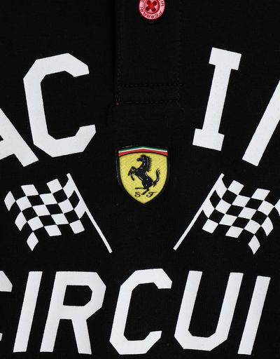 Scuderia Ferrari Online Store - Polo de niño de punto con estampado SCUDERIA FERRARI -