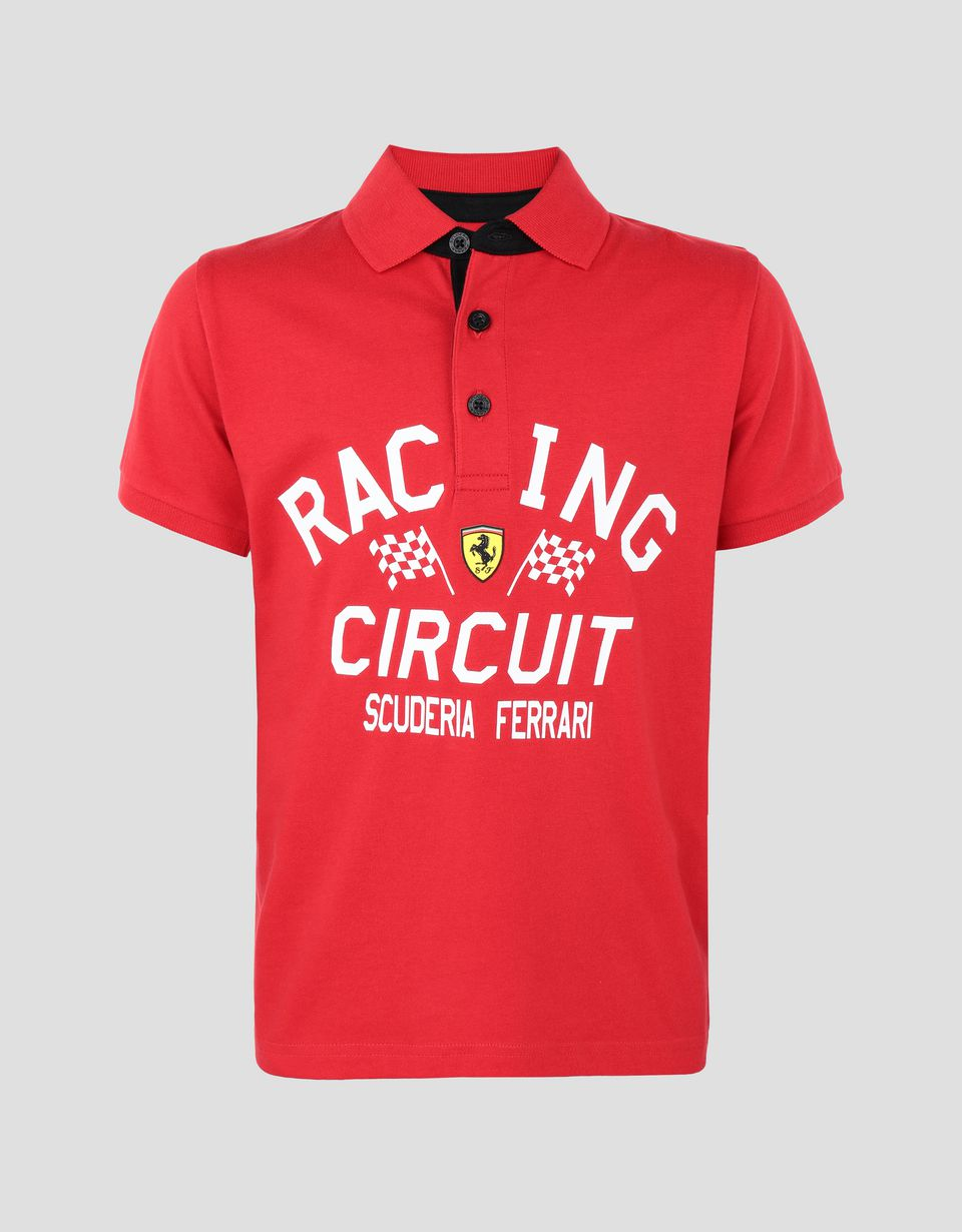 Scuderia Ferrari Online Store - Boys' jersey polo shirt with FERRARI SHIELD print - Short Sleeve Polos