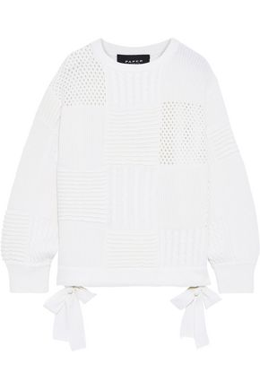 Patchwork Ribbed, Cable And Open Knit Wool Sweater by Paper London