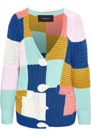 PAPER London Patchwork color-block cotton cardigan