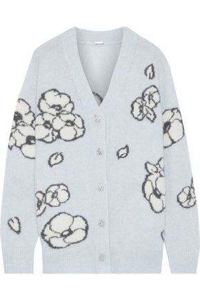 ADAM LIPPES Crystal-embellished intarsia cashmere and silk-blend cardigan
