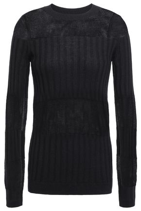 J BRAND Open and ribbed-knit cashmere and silk-blend top