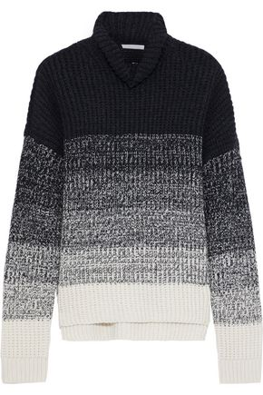 DUFFY Dégradé ribbed wool and cashmere-blend sweater