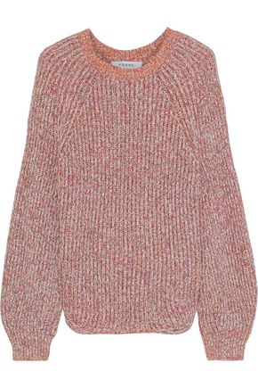 FRAME Marled ribbed cotton-blend sweater