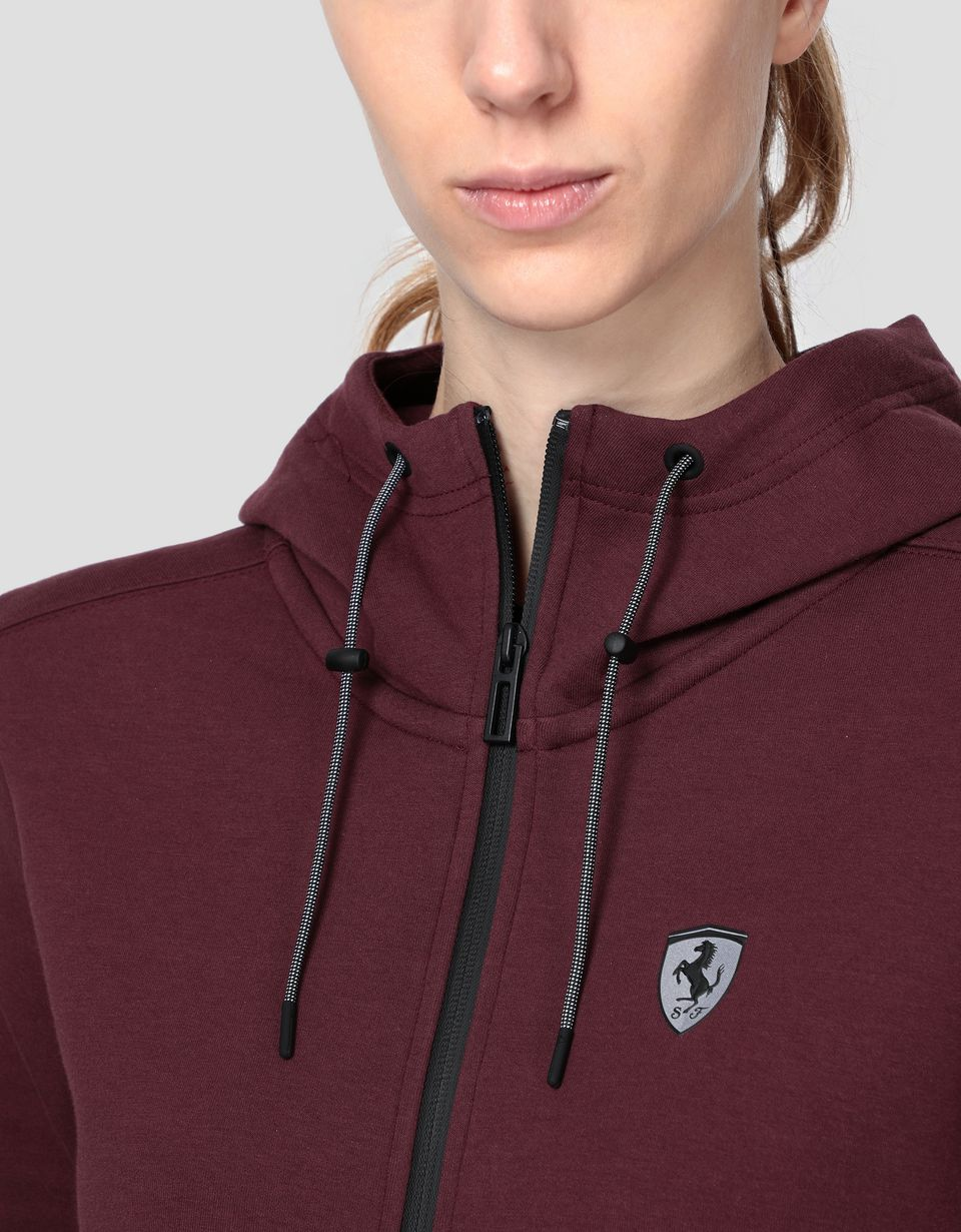 Scuderia Ferrari Online Store - Scuderia Ferrari Puma fleece hooded sweatshirt for women - Zip Hood Jumpers