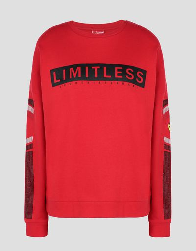 Scuderia Ferrari Online Store - Women's top with LIMITLESS print and sequins - Crew Neck Jumpers