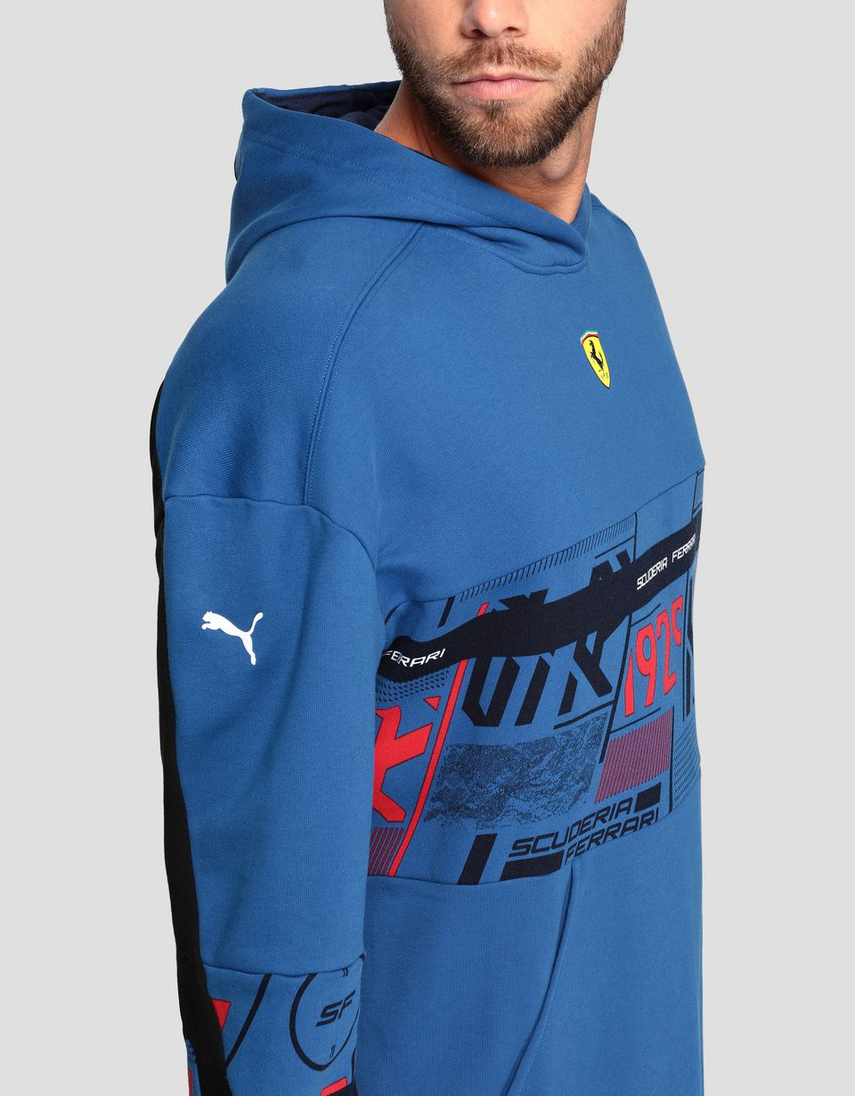 Scuderia Ferrari Online Store - Puma Scuderia Ferrari men's hooded sweatshirt with print - Zip Hood Sweaters