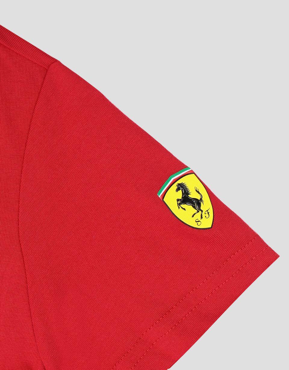 Scuderia Ferrari Online Store - Scuderia Ferrari Puma boy's T-shirt with Ferrari Shield - Short Sleeve T-Shirts