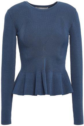 JASON WU Ribbed-knit peplum sweater