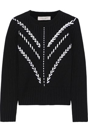 CAROLINA HERRERA Pointelle-trimmed whipstitched cashmere sweater