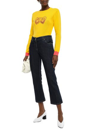 Chinti & Parker Sweaters CHINTI AND PARKER WOMAN EMBROIDERED WOOL AND CASHMERE-BLEND SWEATER YELLOW