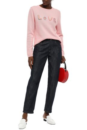 Chinti & Parker Sweaters CHINTI AND PARKER WOMAN EMBROIDERED WOOL AND CASHMERE-BLEND SWEATER BABY PINK