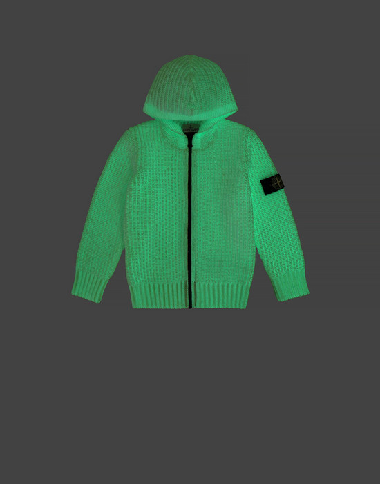 STONE ISLAND KIDS 519A5 GLOW IN THE DARK  Sweater Man White